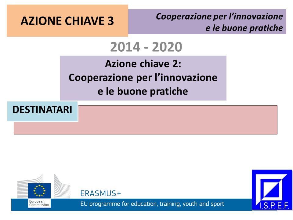 2014 - 2020 Azione chiave 2: Cooperazione per l'innovazione e le buone pratiche Cooperazione per l'innovazione e le buone pratiche DESTINATARI AZIONE CHIAVE 3