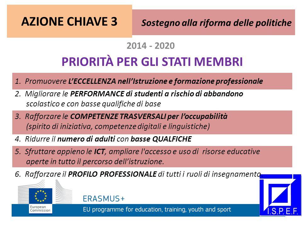 2014 - 2020 PRIORITÀ PER GLI STATI MEMBRI 1. Promuovere L'ECCELLENZA nell'Istruzione e formazione professionale 2. Migliorare le PERFORMANCE di studen