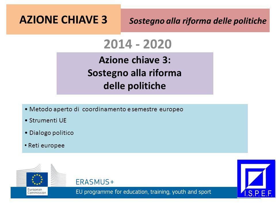 2014 - 2020 Azione chiave 3: Sostegno alla riforma delle politiche Metodo aperto di coordinamento e semestre europeo Strumenti UE Dialogo politico Reti europee Sostegno alla riforma delle politiche AZIONE CHIAVE 3 Azione chiave 3: Sostegno alla riforma delle politiche