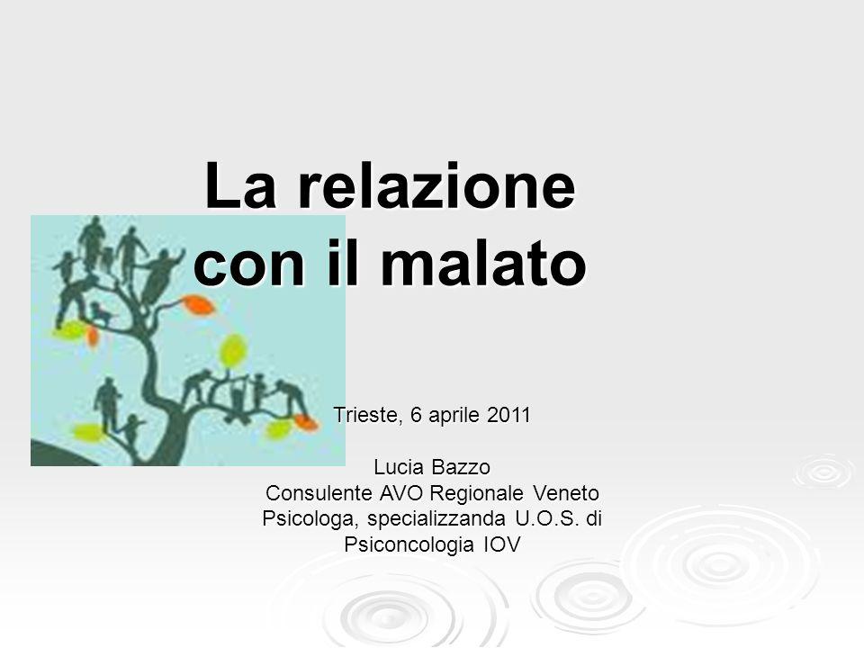 La relazione con il malato Trieste, 6 aprile 2011 Lucia Bazzo Consulente AVO Regionale Veneto Psicologa, specializzanda U.O.S. di Psiconcologia IOV