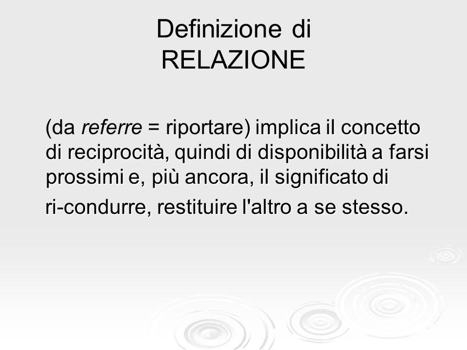 Definizione di RELAZIONE ) implica il concetto di reciprocità, quindi di disponibilità a farsi prossimi e, più ancora, il significato di (da referre =
