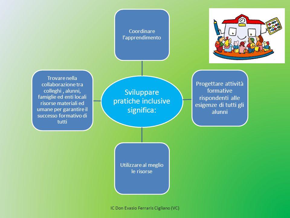 Sviluppare pratiche inclusive significa: Coordinare l'apprendimento Progettare attività formative rispondenti alle esigenze di tutti gli alunni Utiliz