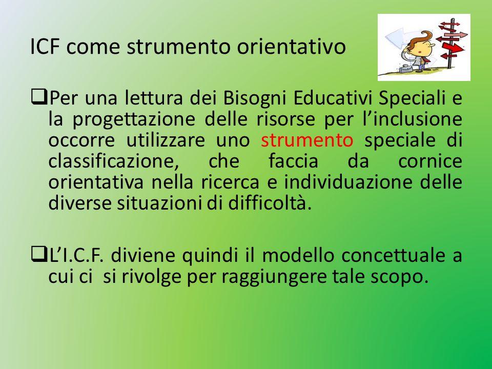 ICF come strumento orientativo  Per una lettura dei Bisogni Educativi Speciali e la progettazione delle risorse per l'inclusione occorre utilizzare u