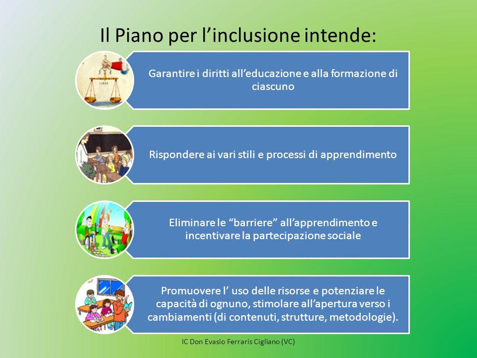 Il Piano per l'inclusione intende: Garantire i diritti all'educazione e alla formazione di ciascuno Rispondere ai vari stili e processi di apprendimen