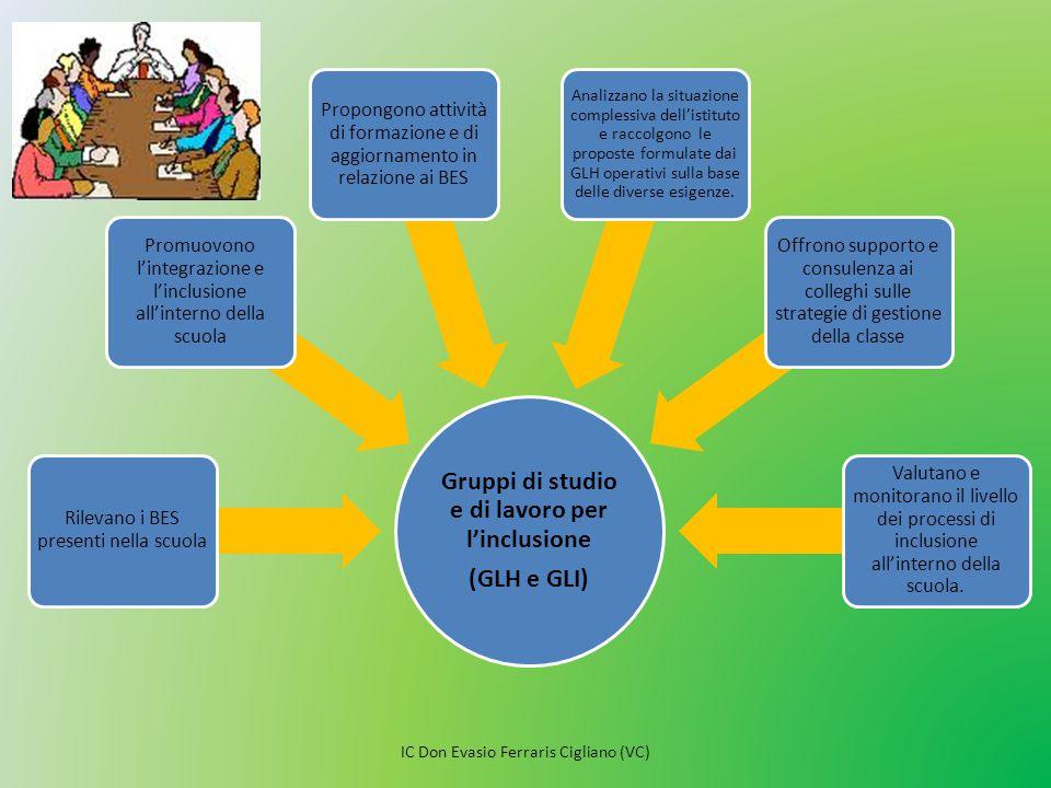 Gruppi di studio e di lavoro per l'inclusione (GLH e GLI) Rilevano i BES presenti nella scuola Promuovono l'integrazione e l'inclusione all'interno de