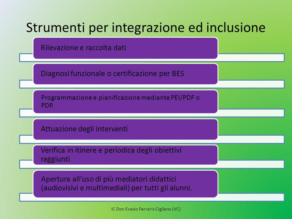 Strumenti per integrazione ed inclusione Rilevazione e raccolta dati Diagnosi funzionale o certificazione per BES Programmazione e pianificazione medi