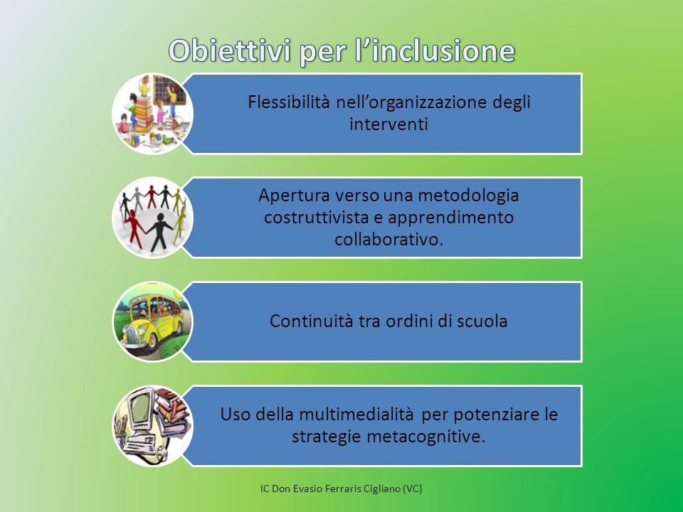 Flessibilità nell'organizzazione degli interventi Apertura verso una metodologia costruttivista e apprendimento collaborativo. Continuità tra ordini d