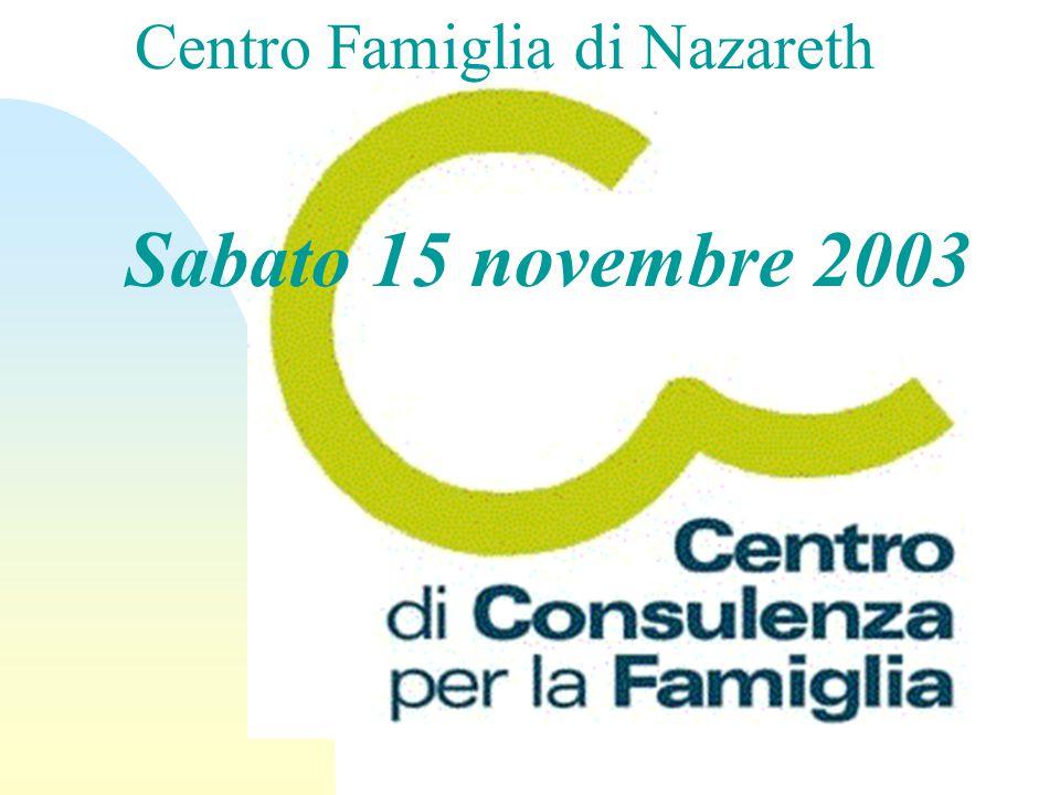 Sabato 15 novembre 2003 Centro Famiglia di Nazareth
