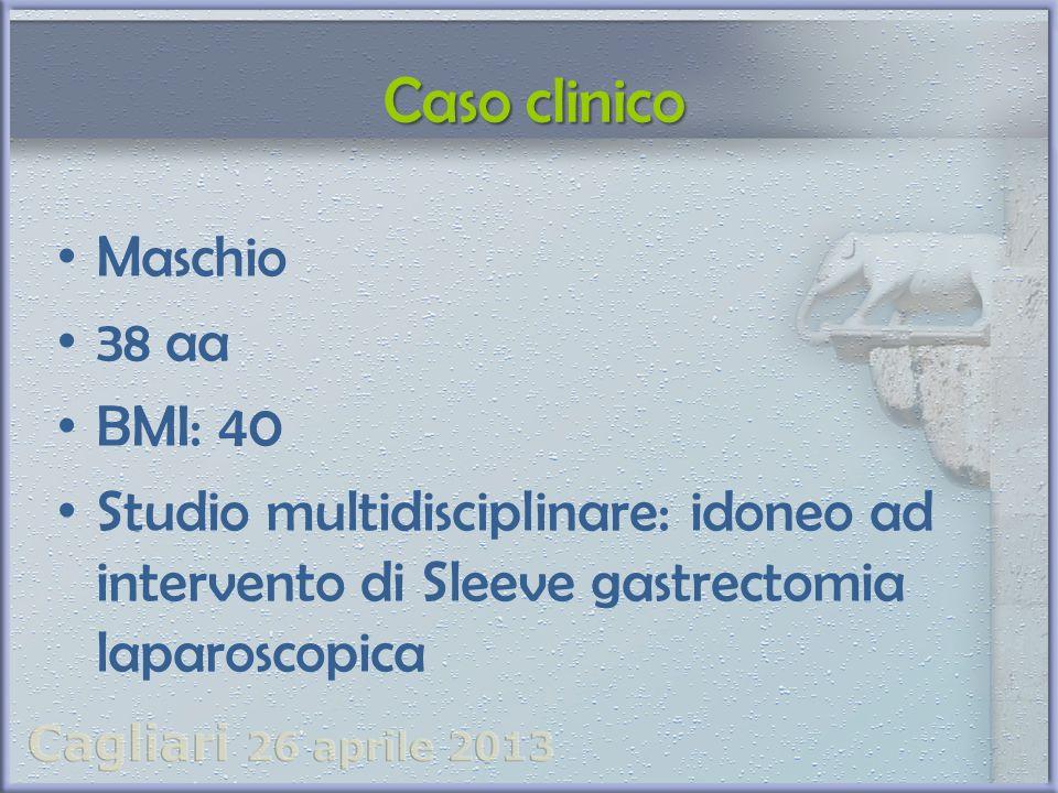 Maschio 38 aa BMI: 40 Studio multidisciplinare: idoneo ad intervento di Sleeve gastrectomia laparoscopica Caso clinico Caso clinico