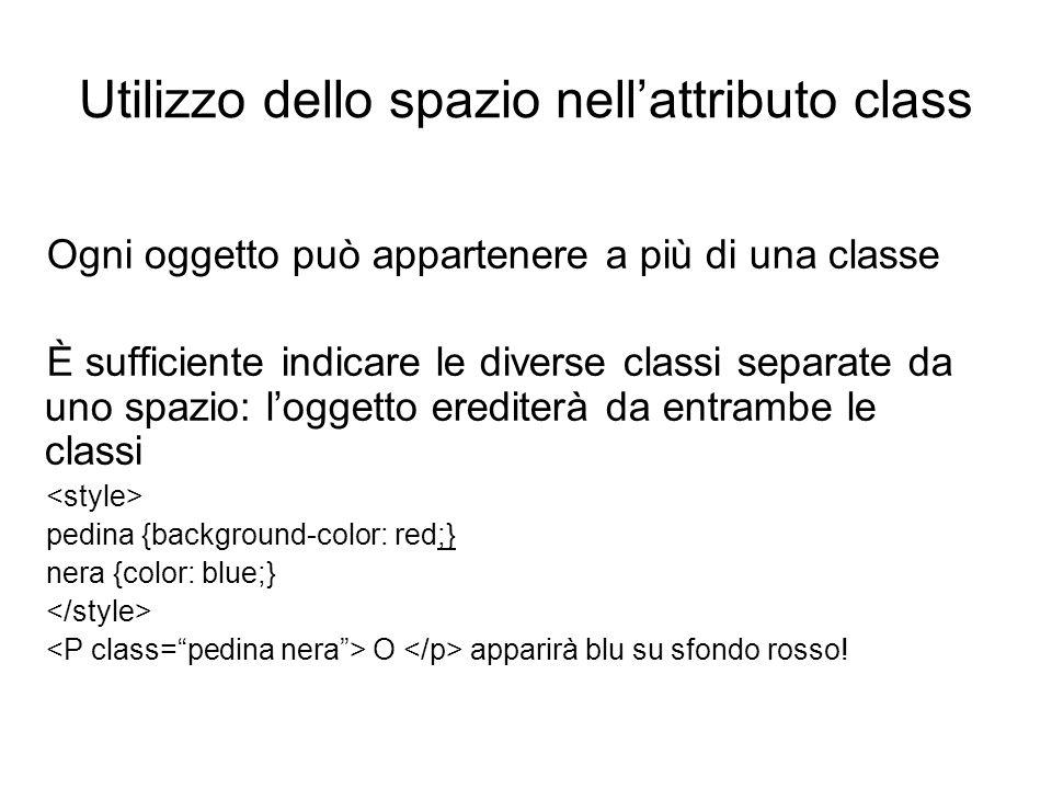 Utilizzo dello spazio nell'attributo class Ogni oggetto può appartenere a più di una classe È sufficiente indicare le diverse classi separate da uno s