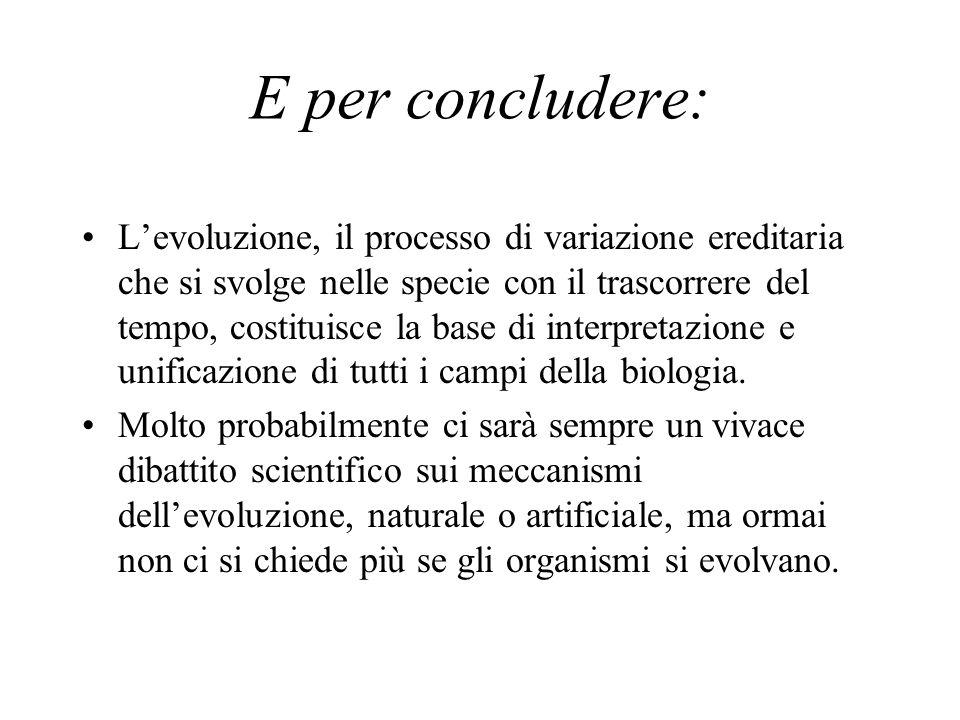 E per concludere: L'evoluzione, il processo di variazione ereditaria che si svolge nelle specie con il trascorrere del tempo, costituisce la base di interpretazione e unificazione di tutti i campi della biologia.