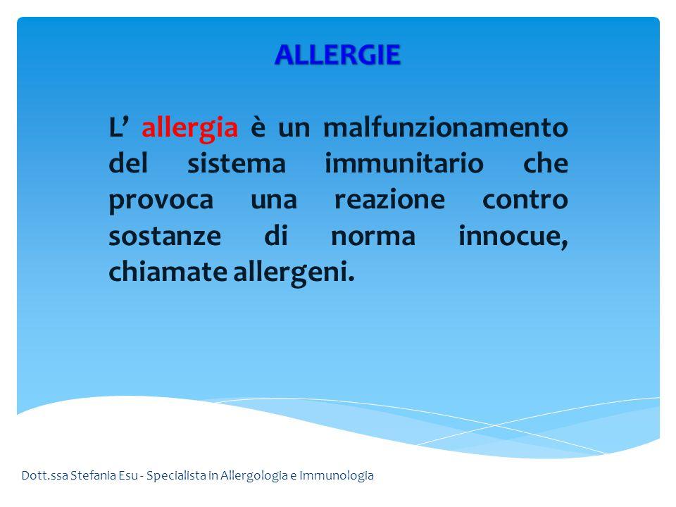 Una reazione allergica viene scatenata dalla particolare sostanza (allergene) a cui la persona è allergica.