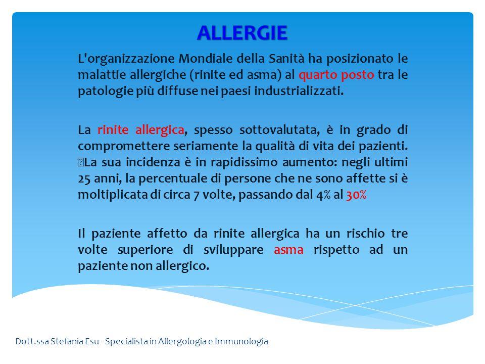 L'organizzazione Mondiale della Sanità ha posizionato le malattie allergiche (rinite ed asma) al quarto posto tra le patologie più diffuse nei paesi i
