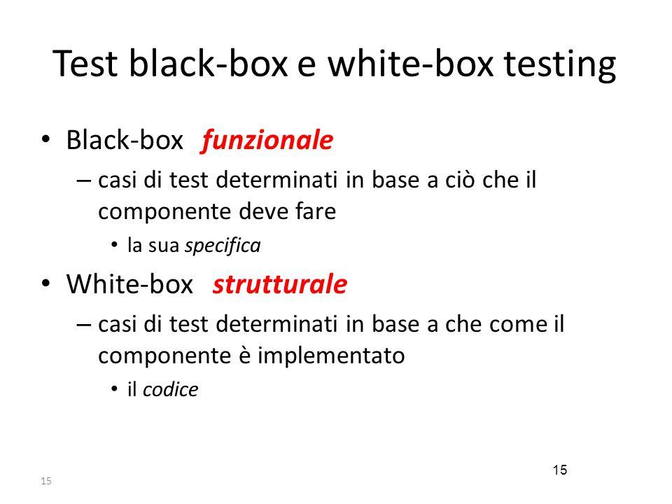 15 Test black-box e white-box testing Black-box funzionale – casi di test determinati in base a ciò che il componente deve fare la sua specifica White