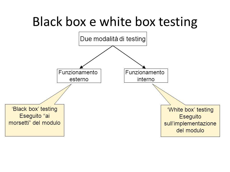 """Black box e white box testing Due modalità di testing Funzionamento esterno Funzionamento interno 'Black box' testing Eseguito """"ai morsetti"""" del modul"""