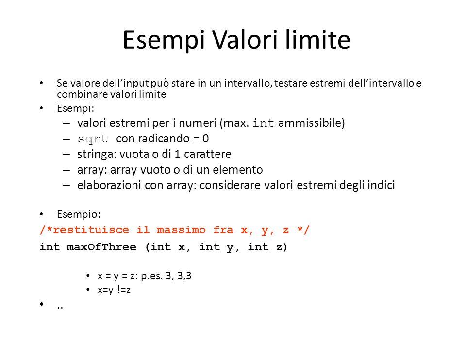 Esempi Valori limite Se valore dell'input può stare in un intervallo, testare estremi dell'intervallo e combinare valori limite Esempi: – valori estre