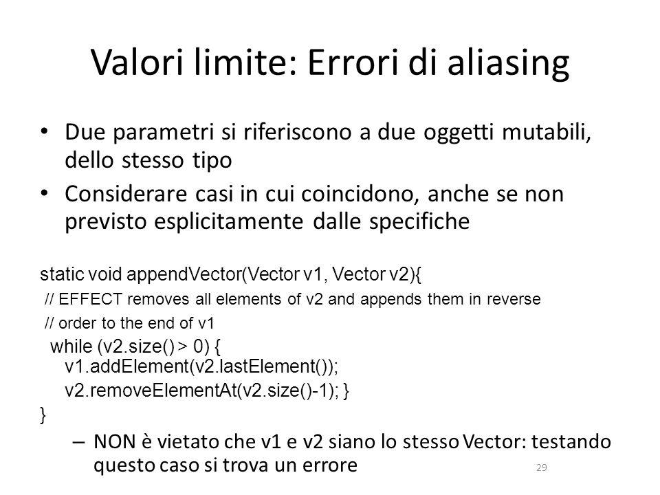 29 Valori limite: Errori di aliasing Due parametri si riferiscono a due oggetti mutabili, dello stesso tipo Considerare casi in cui coincidono, anche