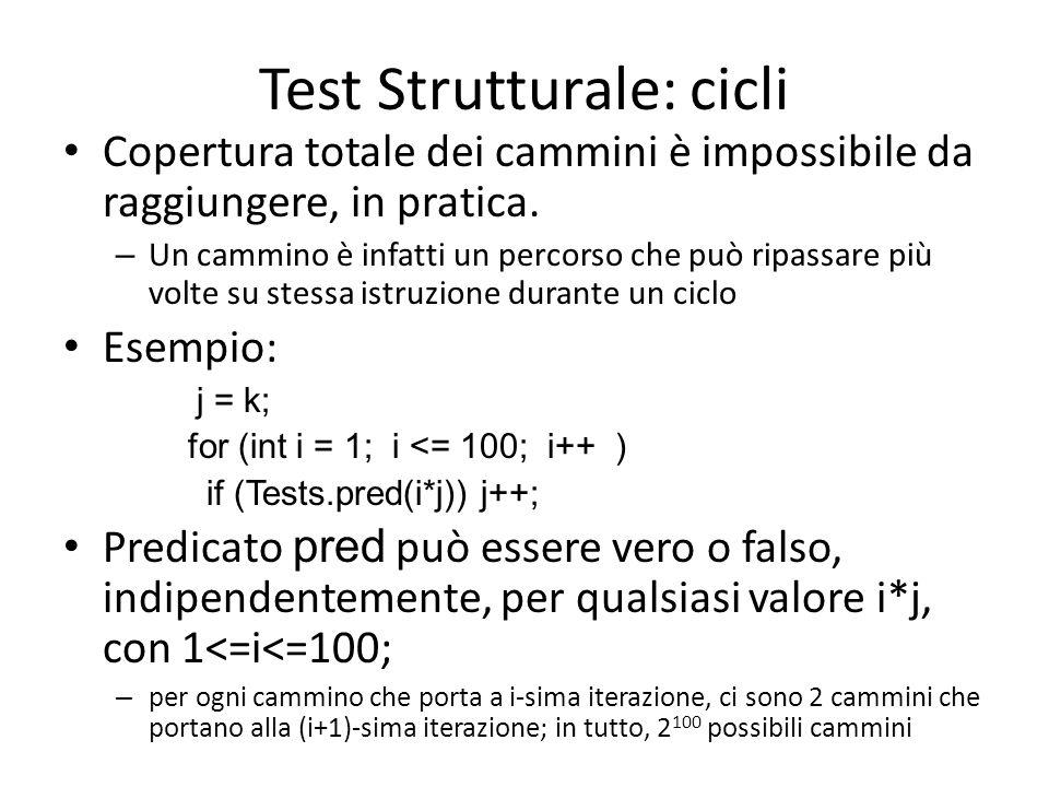 Test Strutturale: cicli Copertura totale dei cammini è impossibile da raggiungere, in pratica. – Un cammino è infatti un percorso che può ripassare pi