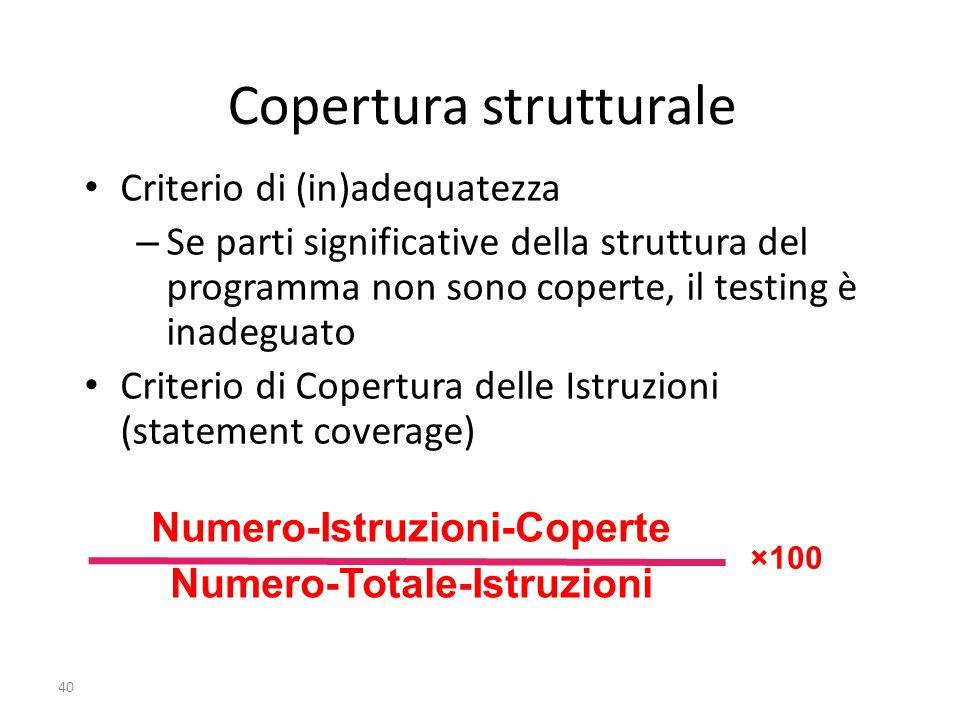 40 Copertura strutturale Criterio di (in)adequatezza –Se parti significative della struttura del programma non sono coperte, il testing è inadeguato C