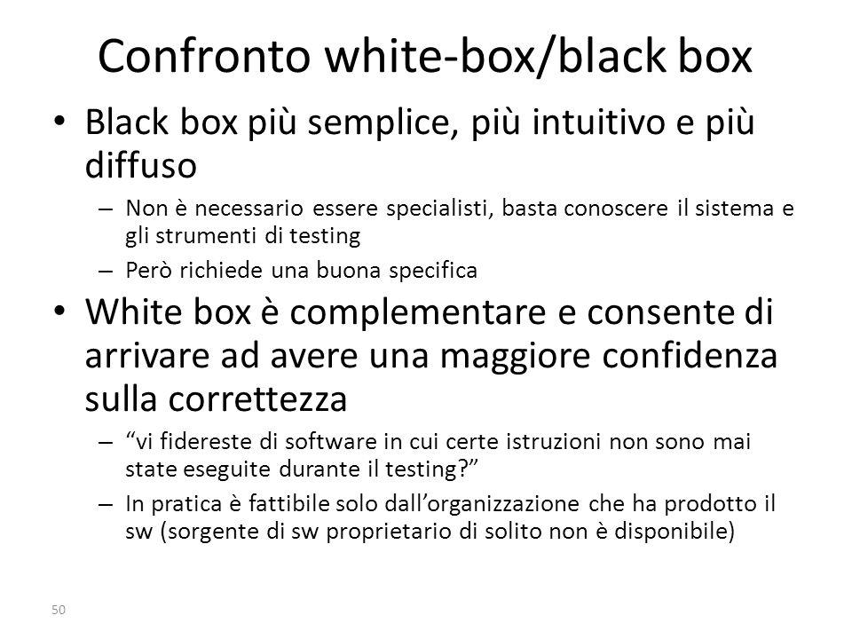 50 Confronto white-box/black box Black box più semplice, più intuitivo e più diffuso –Non è necessario essere specialisti, basta conoscere il sistema