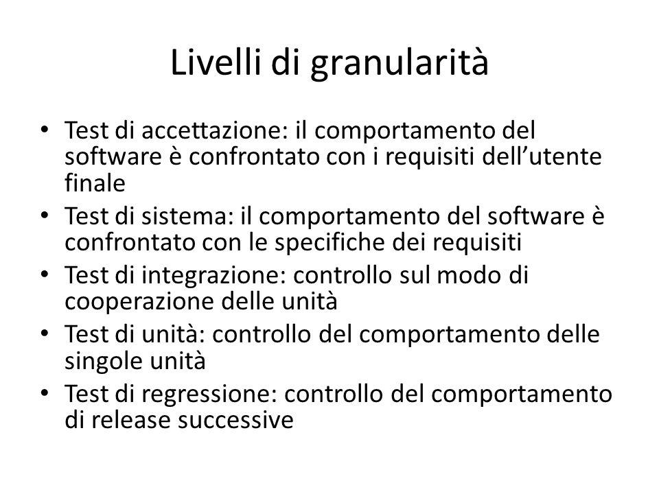 Livelli di granularità Test di accettazione: il comportamento del software è confrontato con i requisiti dell'utente finale Test di sistema: il compor