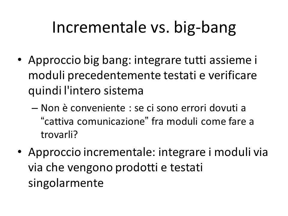 Incrementale vs. big-bang Approccio big bang: integrare tutti assieme i moduli precedentemente testati e verificare quindi l'intero sistema – Non è co