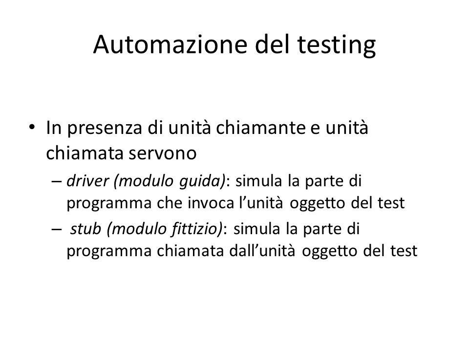Automazione del testing In presenza di unità chiamante e unità chiamata servono – driver (modulo guida): simula la parte di programma che invoca l'uni