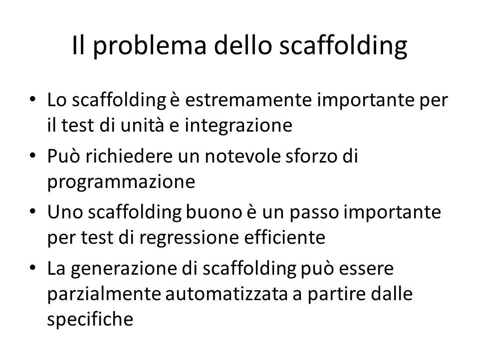 Il problema dello scaffolding Lo scaffolding è estremamente importante per il test di unità e integrazione Può richiedere un notevole sforzo di progra