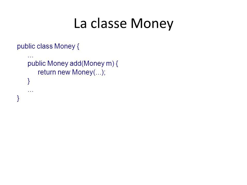 La classe Money public class Money {... public Money add(Money m) { return new Money(...); }... }