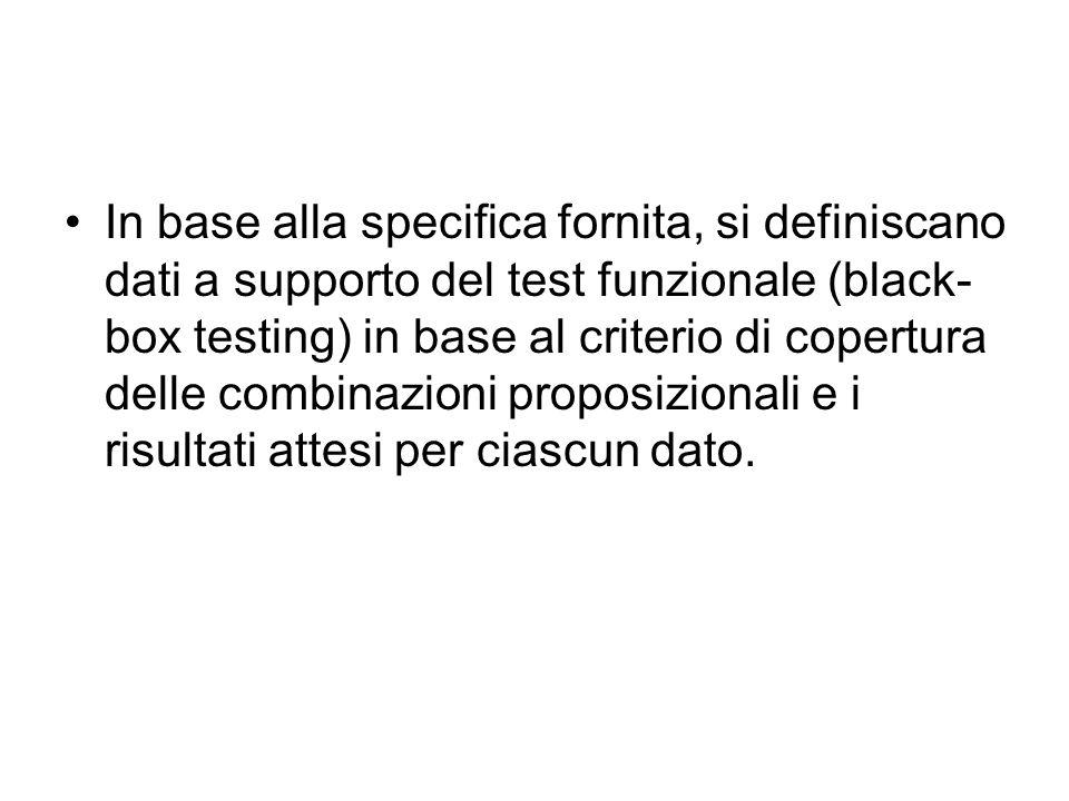 In base alla specifica fornita, si definiscano dati a supporto del test funzionale (black- box testing) in base al criterio di copertura delle combinazioni proposizionali e i risultati attesi per ciascun dato.