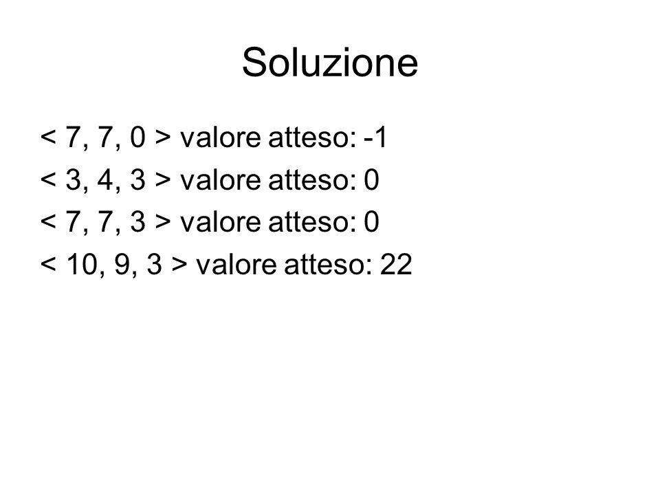 Soluzione valore atteso: -1 valore atteso: 0 valore atteso: 22