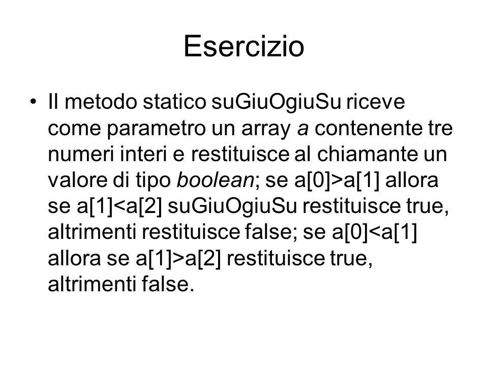 Esercizio Il metodo statico suGiuOgiuSu riceve come parametro un array a contenente tre numeri interi e restituisce al chiamante un valore di tipo boolean; se a[0]>a[1] allora se a[1] a[2] restituisce true, altrimenti false.