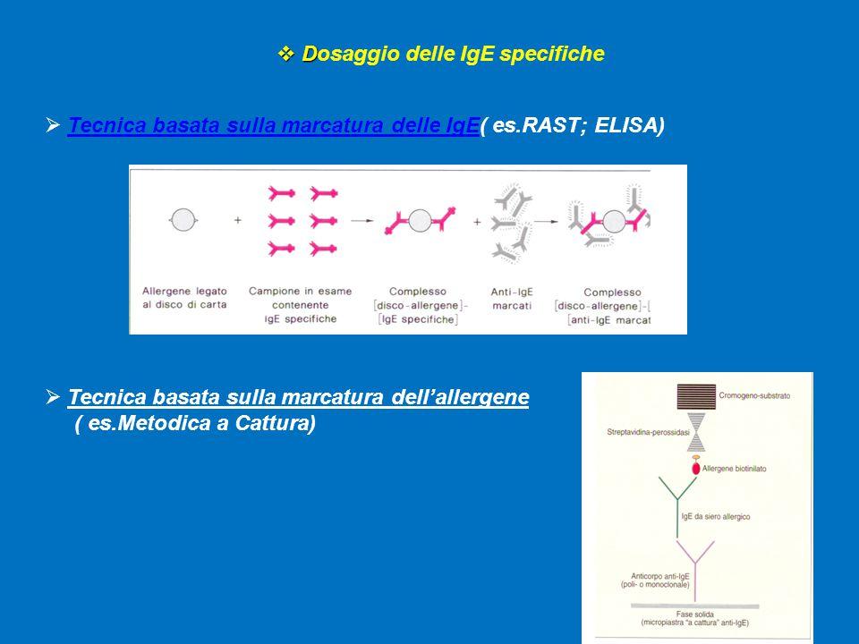  D  Dosaggio delle IgE specifiche  Tecnica basata sulla marcatura delle IgE( es.RAST; ELISA)  Tecnica basata sulla marcatura dell'allergene ( es.Metodica a Cattura)