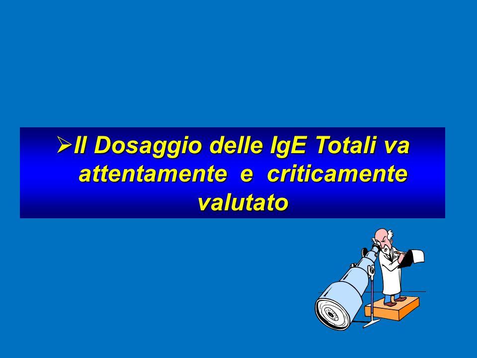  Il Dosaggio delle IgE Totali va attentamente e criticamente attentamente e criticamente valutato valutato