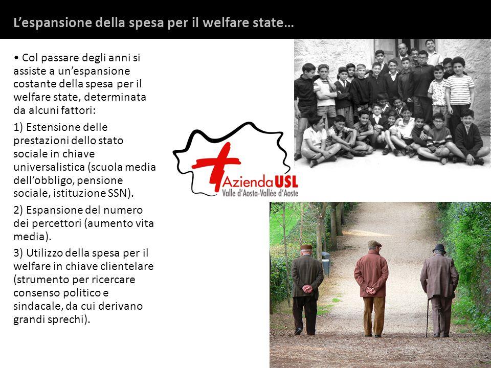 Col passare degli anni si assiste a un'espansione costante della spesa per il welfare state, determinata da alcuni fattori: 1) Estensione delle prestazioni dello stato sociale in chiave universalistica (scuola media dell'obbligo, pensione sociale, istituzione SSN).