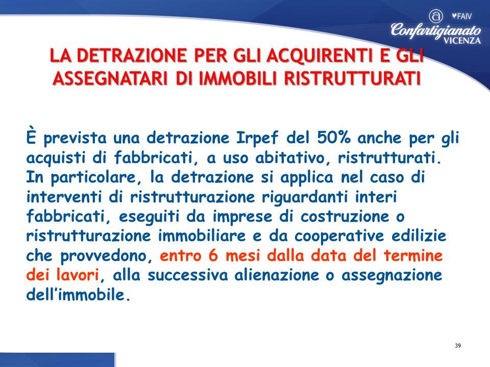 È prevista una detrazione Irpef del 50% anche per gli acquisti di fabbricati, a uso abitativo, ristrutturati.