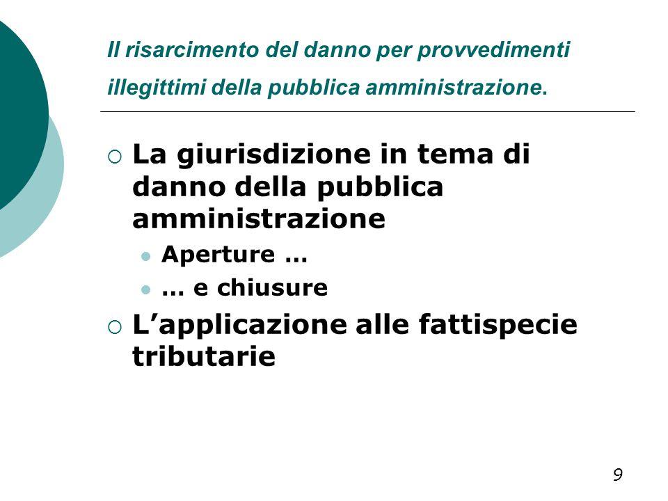 Il risarcimento del danno per provvedimenti illegittimi della pubblica amministrazione.  La giurisdizione in tema di danno della pubblica amministraz