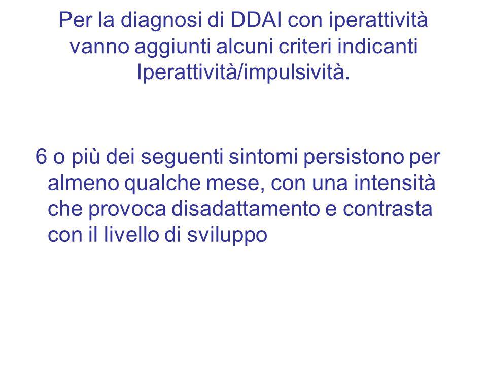 Per la diagnosi di DDAI con iperattività vanno aggiunti alcuni criteri indicanti Iperattività/impulsività. 6 o più dei seguenti sintomi persistono per