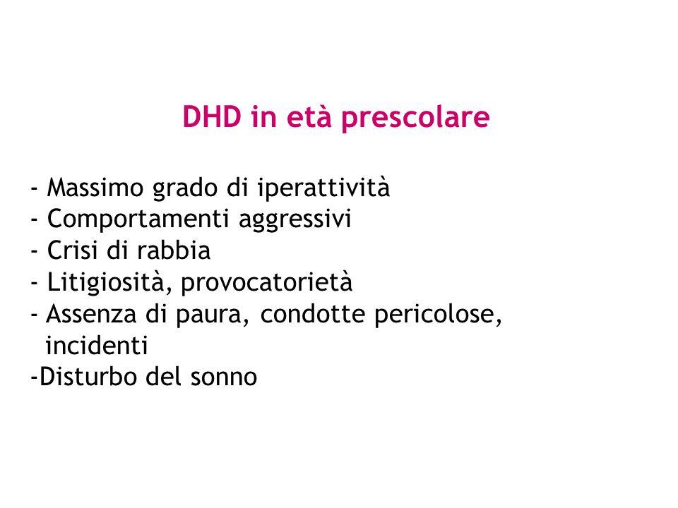 DHD in età prescolare - Massimo grado di iperattività - Comportamenti aggressivi - Crisi di rabbia - Litigiosità, provocatorietà - Assenza di paura, c