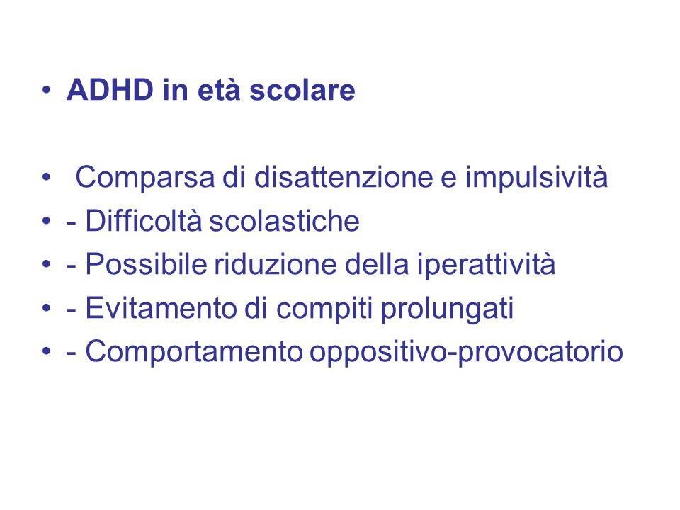 ADHD in età scolare Comparsa di disattenzione e impulsività - Difficoltà scolastiche - Possibile riduzione della iperattività - Evitamento di compiti