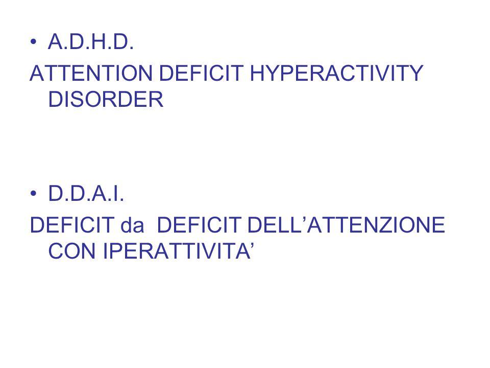 A.D.H.D. ATTENTION DEFICIT HYPERACTIVITY DISORDER D.D.A.I. DEFICIT da DEFICIT DELL'ATTENZIONE CON IPERATTIVITA'