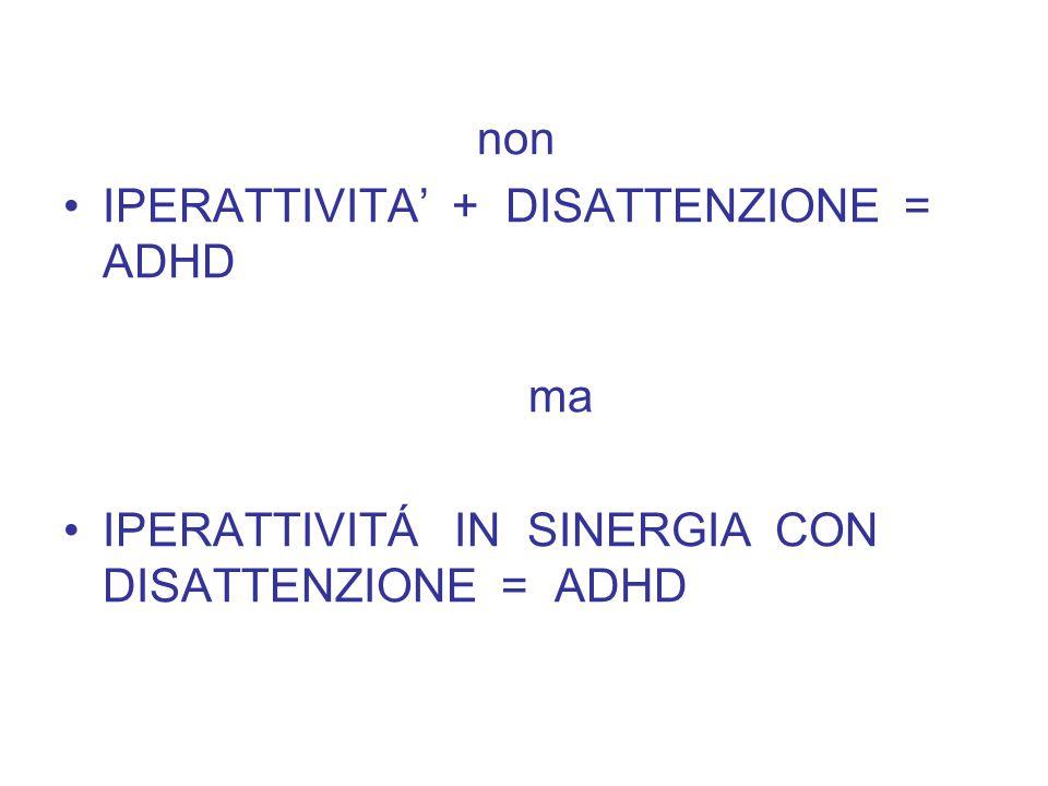 non IPERATTIVITA' + DISATTENZIONE = ADHD ma IPERATTIVITÁ IN SINERGIA CON DISATTENZIONE = ADHD