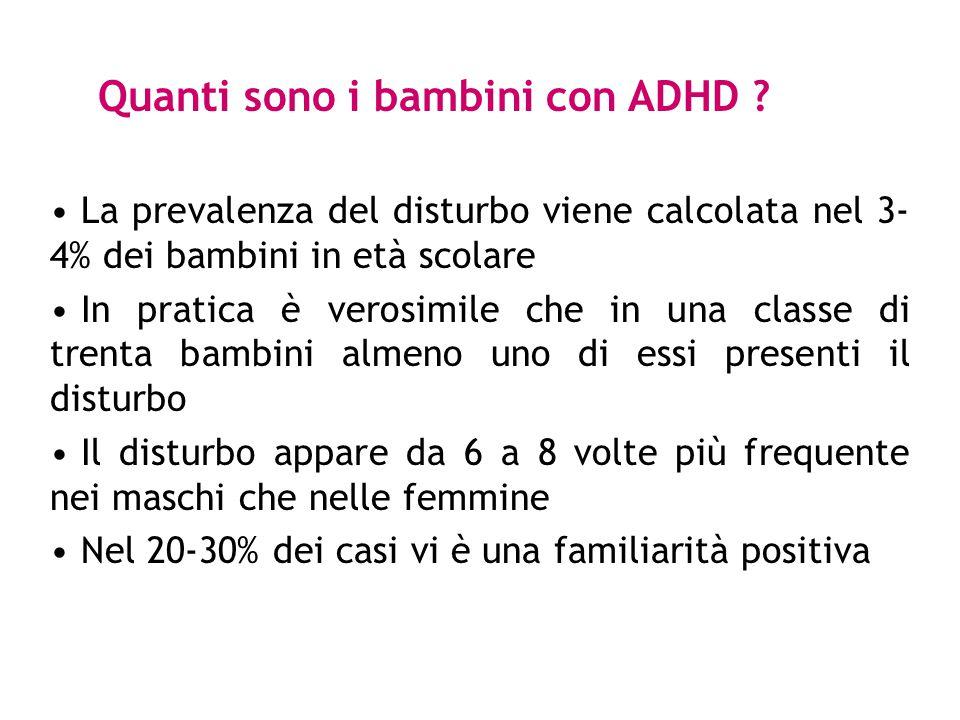 ADHD in adolescenza (possibili evoluzioni) - 35%: superamento dei sintomi, prestazioni scolastiche talvolta inferiori ai controlli.