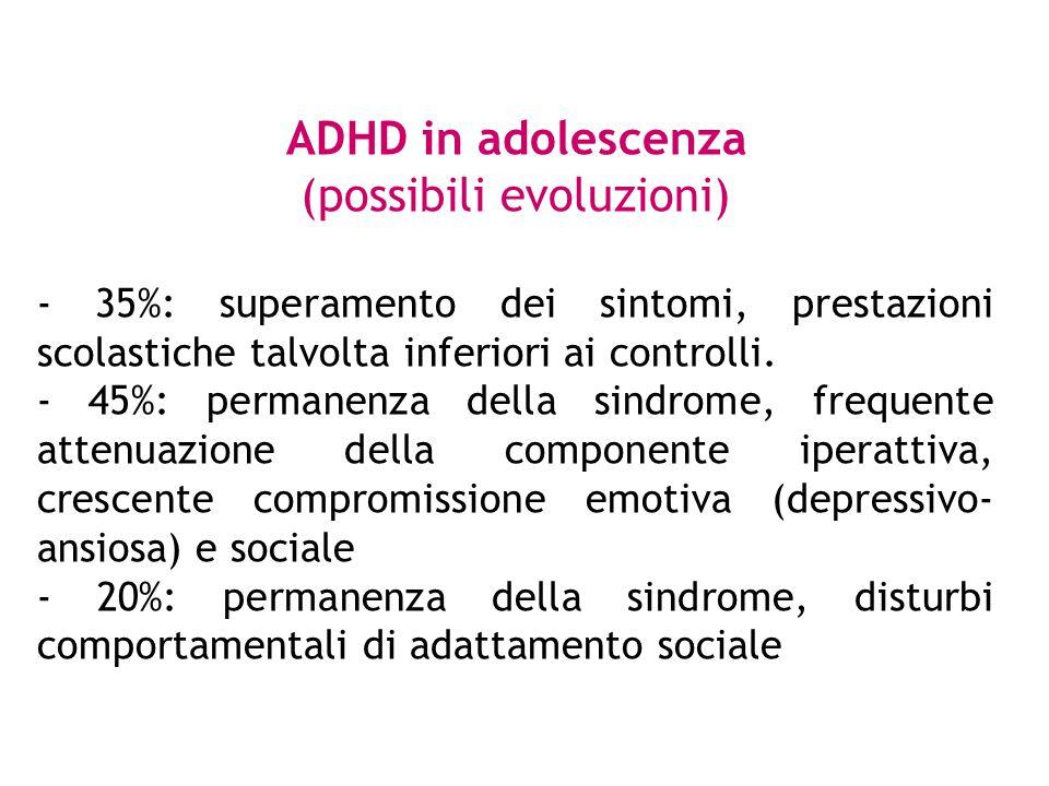 ADHD in adolescenza (possibili evoluzioni) - 35%: superamento dei sintomi, prestazioni scolastiche talvolta inferiori ai controlli. - 45%: permanenza