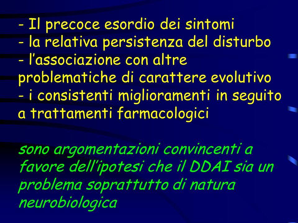 - Il precoce esordio dei sintomi - la relativa persistenza del disturbo - l'associazione con altre problematiche di carattere evolutivo - i consistent