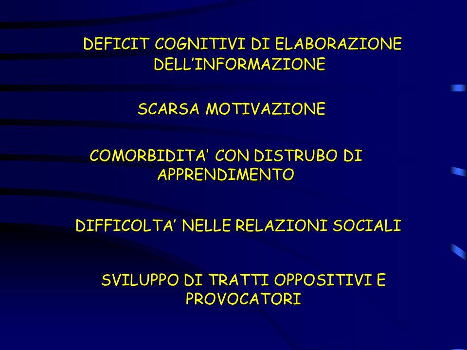 DEFICIT COGNITIVI DI ELABORAZIONE DELL'INFORMAZIONE DEFICIT COGNITIVI DI ELABORAZIONE DELL'INFORMAZIONE SCARSA MOTIVAZIONE COMORBIDITA' CON DISTRUBO D