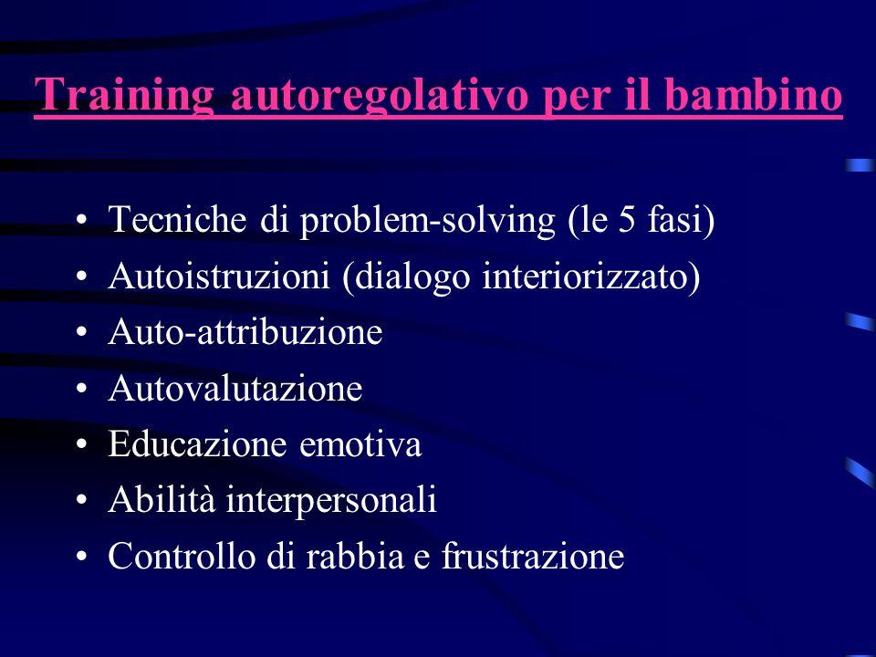 Training autoregolativo per il bambino Tecniche di problem-solving (le 5 fasi) Autoistruzioni (dialogo interiorizzato) Auto-attribuzione Autovalutazio