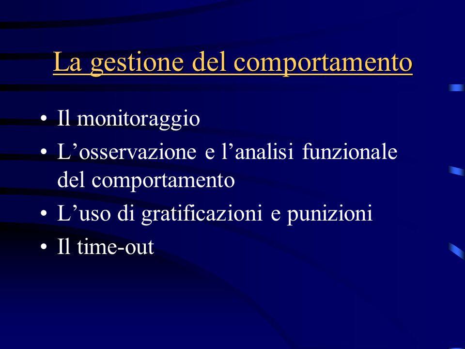 La gestione del comportamento Il monitoraggio L'osservazione e l'analisi funzionale del comportamento L'uso di gratificazioni e punizioni Il time-out