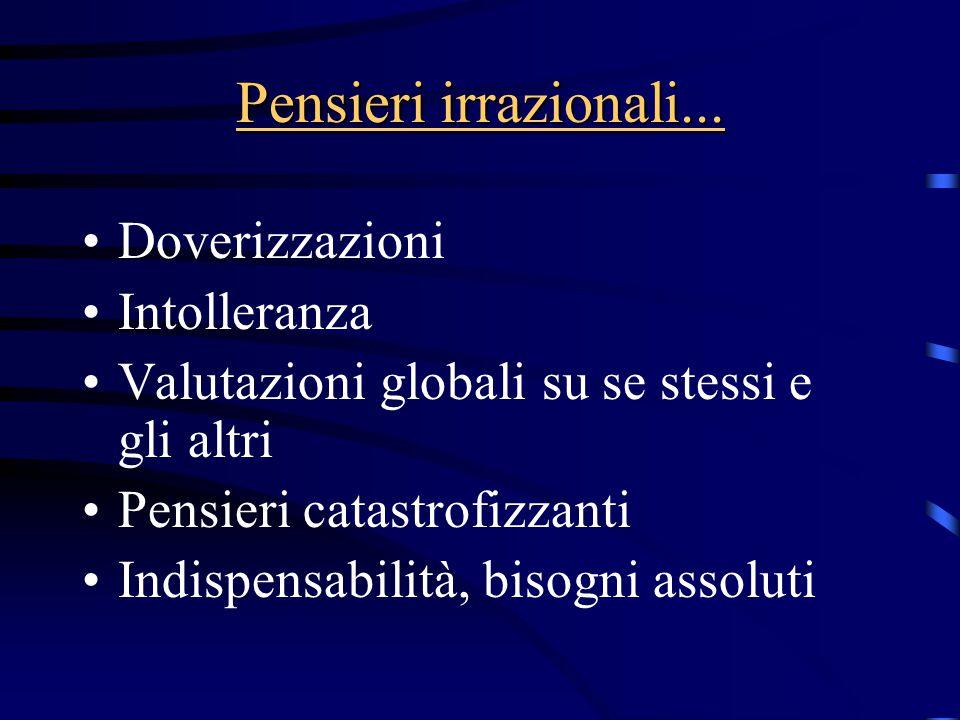 Pensieri irrazionali... Doverizzazioni Intolleranza Valutazioni globali su se stessi e gli altri Pensieri catastrofizzanti Indispensabilità, bisogni a