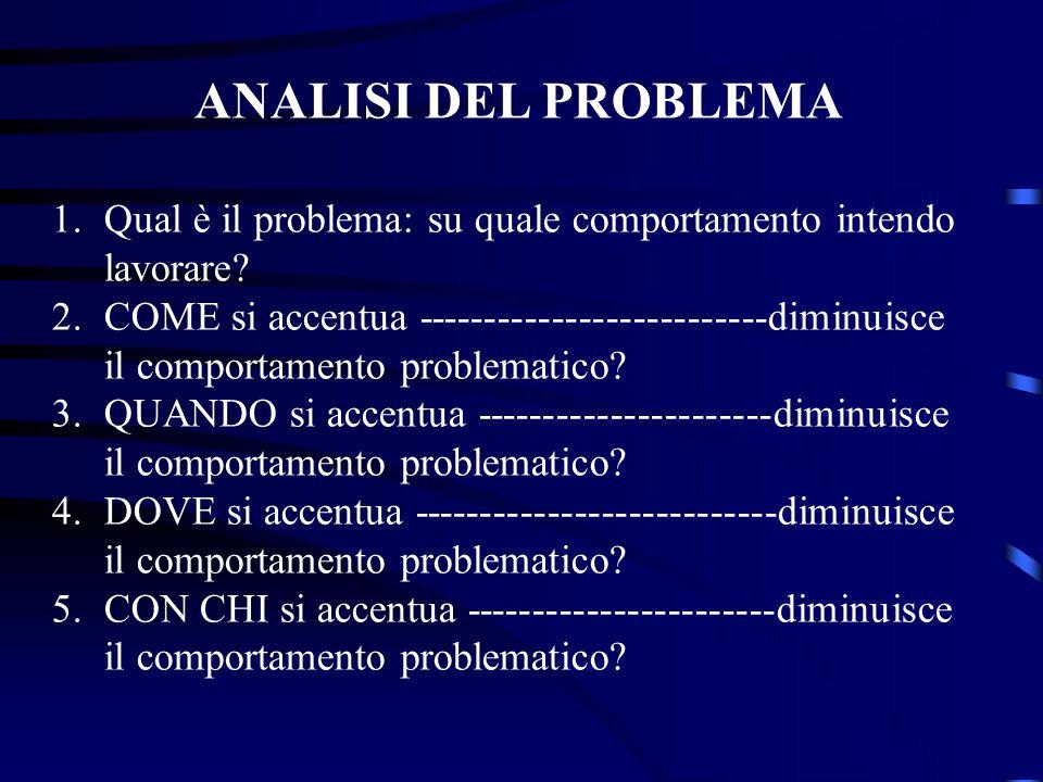 ANALISI DEL PROBLEMA 1.Qual è il problema: su quale comportamento intendo lavorare? 2.COME si accentua --------------------------diminuisce il comport